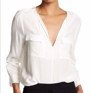 Joie Marlo silk blouse white/ ivory w pockets med